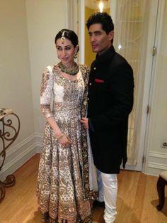 Karishma Kapoor and Manish Malhotra (love love her look! Indian Attire, Indian Wear, Indian Style, Indian Ethnic, Pakistani Bridal, Indian Bridal, Indian Dresses, Indian Outfits, Pakistani Outfits