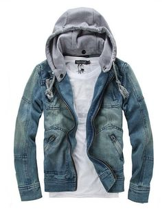 Denim Jacket With Snap-On Hood