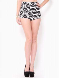High Waisted #Aztec Zipper Shorts