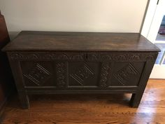 Circa 1675 - This English coffer is made of solid carved oak that's nearly 350 years old! It has a handsome chocolate color and rich patina. It's a practical and charming piece of history.