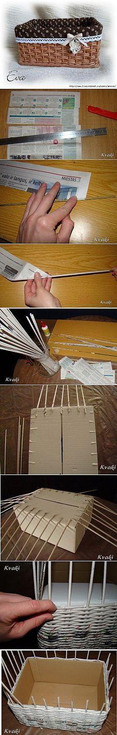 Плетение из газет. Как крутить трубочки и оплетать коробку: