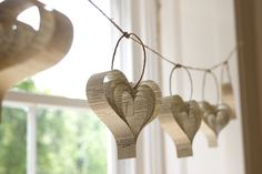Wedding garland - Shakespeare upcycled books hearts in beige neutral