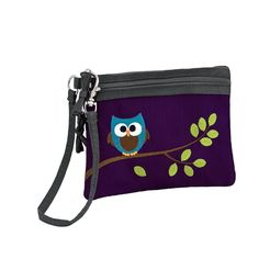 2 Zip Wristlet - Embroidered Owl