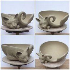 "passionfyrecrafts:earthwoolfire: 12""unfired white earthenware custom Cat yarn bowl. Custom orders via earthwoolfire.etsy.com Oh that's beautiful :o"