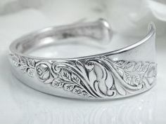 Spoon Bracelet, Cuff, Silver Cuff Bracelet, Spoon Jewelry, Silverware Bracelet - 1953 Bridal Corsage - Size Average - Medium