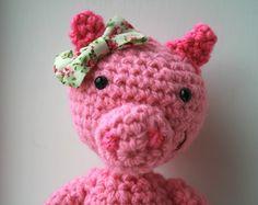 Crochet pattern, crochet doll pattern, baby doll pattern, Amigurumi pig doll pattern #crochetpattern #amigurumi