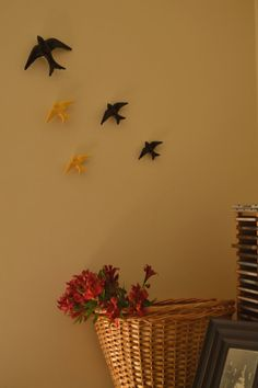 Use ceramic colored swallows to decor your walls in your very own way. https://www.etsy.com/pt/listing/196229765/colored-swallows-pack-of-4-colored