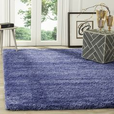 safavieh california cozy solid periwinkle shag rug 6u0027 7 x 9u0027 6