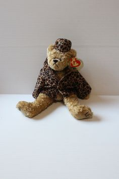 TY BROWN BEAR plush, Isabella Puttin' on the Ritz, Bear in Leopard print coat, gift for child, toy for child, collectible toy,Ty Beanie Baby by TheJellyJar on Etsy