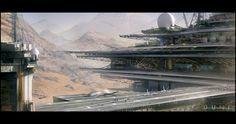 Desert-world research facility. (Spice Refinery, Mark Molnar on ArtStation at http://www.artstation.com/artwork/spice-refinery)