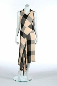 * Comme des Garçons pink and black checked bias cut dress, circa 1986, white on black woven label, with points to hem