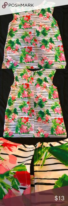 Floral, sleeveless blouse Gently used floral, sleeveless top. Scoop neck with keyhole back. Black lines with light pink, medium pink and red flowers. Top is slightly longer in the back. Size medium. No stains or tears. Smoke free home. Tops Blouses
