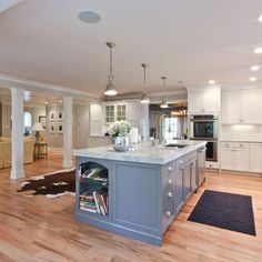 White Oak Flooring Blue Cabinet Kitchen Design, Pictures, Remodel, Decor and Ideas - page 2