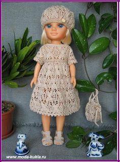 """НЭНСИ и """"Карамель"""" - красивый ажурный узор! Платье, беретик, сандалики и ридикюльчик!"""