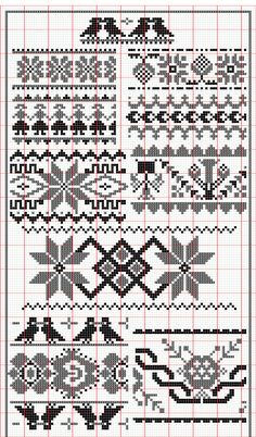 Fair Isle Patterns Plus Cross Stitch Borders, Cross Stitching, Cross Stitch Embroidery, Cross Stitch Patterns, Embroidery Patterns, Knitting Charts, Knitting Stitches, Fair Isle Knitting Patterns, Fair Isle Chart