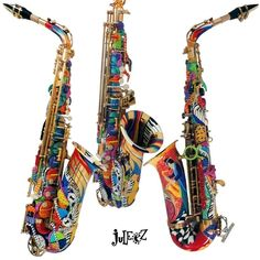 This is so cool....Colorful Alto Saxophone by Juleez Hand Painted Musical Instrument | Home #music