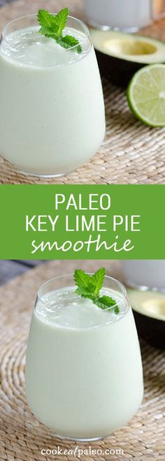 Key Lime Pie Smoothie Even though this paleo key lime pie smoothie is gluten-free, dairy-free and egg-free, it's decadent enough for dessert. And it's faster than baking a pie. ~ Paleo Paleo may refer to: . Smoothie Drinks, Healthy Smoothies, Healthy Drinks, Simple Smoothies, Avocado Recipes, Paleo Recipes, Paleo Smoothie Recipes, Paleo Key Lime Pie, Brunch