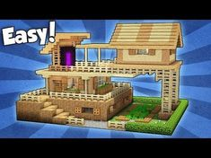 Minecraft: Wooden Survival House Tutorial   How To Build A House In  Minecraft / Easy