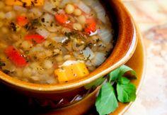 Soupe de lentilles et de pois chiches à l'indienne