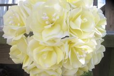 Handmade Yellow Paper Flower Bouquet by JsWeddingFlowers on Etsy, $15.00