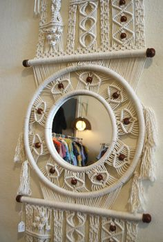 macrame wall hanging by Mascotvintage on Etsy Macrame Mirror, Macrame Art, Macrame Projects, Macrame Knots, Diy Projects, Dream Catcher Tutorial, Bathroom Plants, Wooden Beads, Wall Shelves
