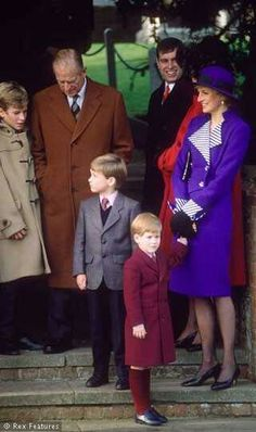 HRH Prince Philip, Duke of Edinburgh, HRH Diana, Princess of Wales, Princes William & Harry, Prince Andrew and Princess Anne's son Peter Philips.