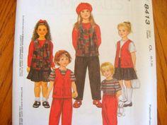 McCALLS Sewing Pattern 8413 - 2,3,4 - VEST-TOP-SKIRT-PANTS