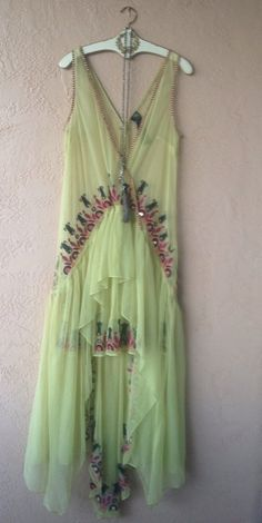 FREE PEOPLE CITRON BEADED SILK WITH TULLE ART DECO RARE HOLIDAY GOWN