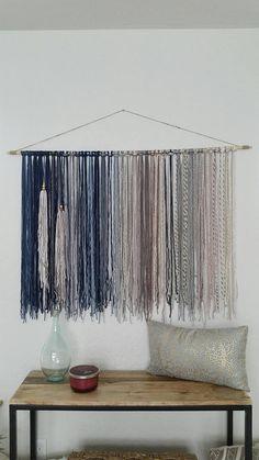 Bohemian Yarn Tapestry, Yarn Wall Hanging, Blue, Gray and Beige Yarn Wall Art, Yarn Wall Hanging, Wall Hangings, Diy Wall, Wall Decor, Grey And Beige, Yarn Colors, Weaving, Diy Projects