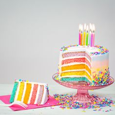Basic Vanilla Cake Recipe, Cake Recept, Rainbow Treats, Rainbow Cakes, Cake Slicer, Cake Vegan, How To Make Frosting, Novelty Birthday Cakes, Rainbow Birthday