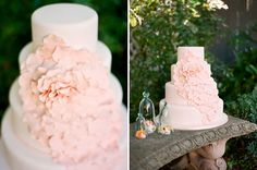simple white wedding cake with pink flower // pastel wedding