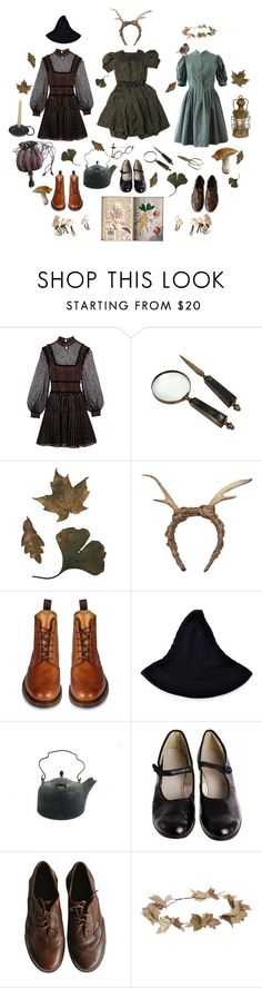 """""""el laberinto del fauno"""" by riverselkie ❤ liked on Polyvore featuring Alexander McQueen, FAUXTALE, Del Toro, Loake, Bonpoint, eliurpi, witch, victorian and woodland"""