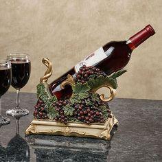 The Vigne Elegante Grapes Wine Bottle Holder has lush dark red grapes with sage green leaves. This tabletop wine bottle holder will hold your one wine bottle. Wine Refrigerator, Wine Fridge, Bottle Art, Bottle Crafts, Pots, Wine Display, Wine Decor, Wine Case, Red Grapes