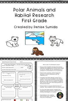 This is a great beginner note taking lesson to teach about animals in polar habitats. Research question boxes are: Basic Facts, Habitat, Food, Life Cycle, and Fun Facts. Includes Polar Bears, Walruses, Arctic Foxes, Penguins, Arctic Hares, Wolves, Beluga Whales, Moose, Musk Oxen, Puffins, Seals, Owls, Arctic Terns, and a blank note taking page.