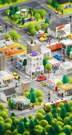 Uma cidade virtual em 3D | A Anna Paschenko tem um portfólio muito bacana, mas dentre os seus trabalhos, eu destaco esse feito para a agência Loud&Clear que solicitou uma cidade em 3D para ser usada em um aplicativo. O resultado foi uma cidade e personagens muito simpáticos, com um quê de maquete, como podem ver nas imagens abaixo. Boa golada!