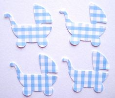 50 Blue Gingham Baby Carriages punch die cut by ThePrettyPaperShop, $2.50
