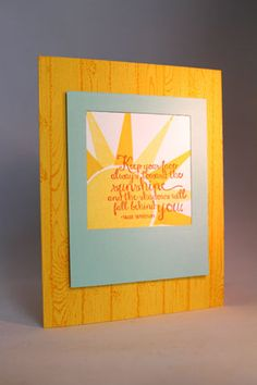 Face the Sunshine by emarcks - Cards and Paper Crafts at Splitcoaststampers Stampin Up Ray of Sunshine