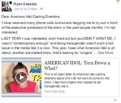 Meet A Trans Singer Who Accuses American Idol Of Trying To Exploit His Identity - #celebrities #news #fight #love #cause #gay #lgbt #trans #singer #accused #american #idol #exploit #identity #invitation #facebook #transgender #ryan #cassata #token #trans #person #gossip #men in dresses #transphobic