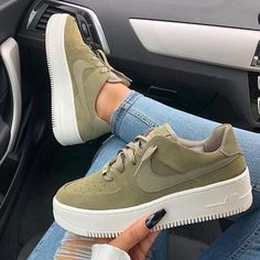 Swarovski Nike Air Force 1 Sage Low Women Casual Sneakers Made with SWAROVSKI Crystals - Olive - These boots r made 4 walking - Sneaker Outfits Women, Sneakers Fashion Outfits, Nike Fashion, Fashion Shoes, Nike Outfits, Cheap Fashion, Fashion Men, Fashion Brands, Fashion Tips