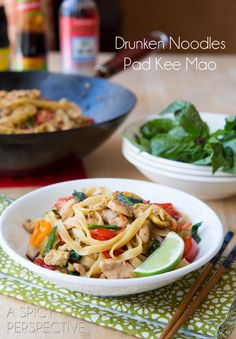 Drunken Noodles - Pad Kee Mao by A Spicy Perspective. Drunken Noodles, fusion food at its finest, in every since. Pad Kee Mao combines multicultural attributes in a comforting and healthy way. Thai and Chinese inf