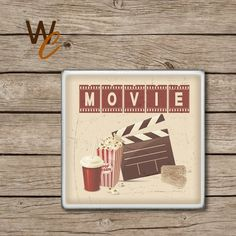 Drink Coaster, Vintage Movie Cinema Room Handmade Ceramic Tile Coasters, Popcorn, Soda, Movie Ticket