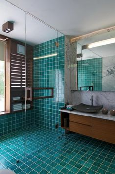 Interior, : Delightful Bathroom Decoration Using Light Green Blue Large Tile Bathroom Floor Along With White Marble Bathroom Wall And Glass ...