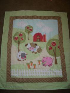 BaBY BLanKeT AppLiqued Farm Animals in green flannel by debi537onn