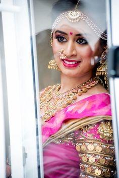 Bridal Portrait - Pink Embellished Coin Sleeves Choli with Gold Heavy Jewelry | WedMeGood #wedmegood #indianbride #indianwedding #pink #choli #indianjewelry #embellished