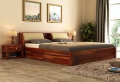 Buy Walken Bed With Storage crafted with Sheesham Wood Online in India. Get Wooden Bed With Storage (Queen Size, Honey Finish) @ Wooden Street Solid Wood Furniture, Find Furniture, Online Furniture, Bedroom Furniture, Home Furniture, Bedroom Decor, Bedroom Ideas, Master Bedroom, Wooden Bed With Storage