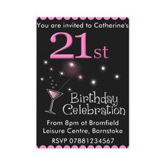 Custom Birthday Party Invitation - Cocktail Glass created by stylishdesigns. This invitation design is available on many paper types and is completely custom printed. Made in 24 hours. Birthday Party Invitation Wording, Cocktail Party Invitation, Free Printable Birthday Invitations, Invites, Invitation Ideas, Invitation Maker, 30th Birthday Parties, Birthday Ideas, 21st Party