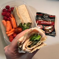 Happy hump day y'all! 🐪 I've got my favorite lunch on one of my days of the week. I've got @oscarmayer rotisserie style sliced chicken breast with @freshexpresssalad hearts of romain in an oat and flax seed wrap. On the side, I brought @driscollsberry raspberries, @costco baby carrots 🥕, @harristeeter grape tomatoes 🍅 and @eatenlightened Sriracha broad bean crisps 😋 #ThePowerOfShe #IIFYM #IIFYMWomen #XXFitness #PowerliftingWomen #WomenWhoLift #FitFriday #TGIF #FlexFriday #Fit #FitWomen…