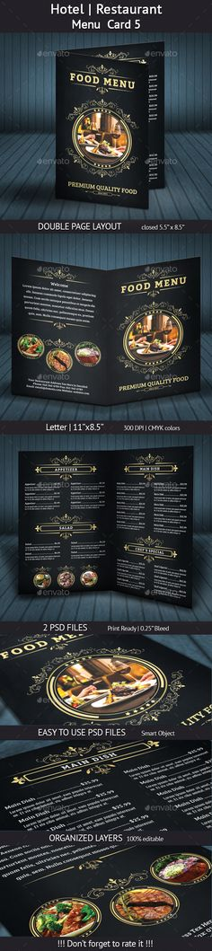 Hotel | Restaurant Menu Card 5 - Template PSD