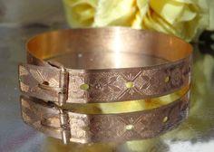 SOLD ANTIQUE Victorian 9k ROSE GOLD FILLED TAILLE D'EPARGNE Buckle Bangle Bracelet