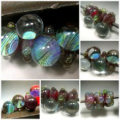 HANDMADE LAMPWORK Bead Silver Glass Set of 6 Donna by DonnaMillard, $36.00